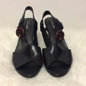 Clarks Black Leather Wedges Sz 8